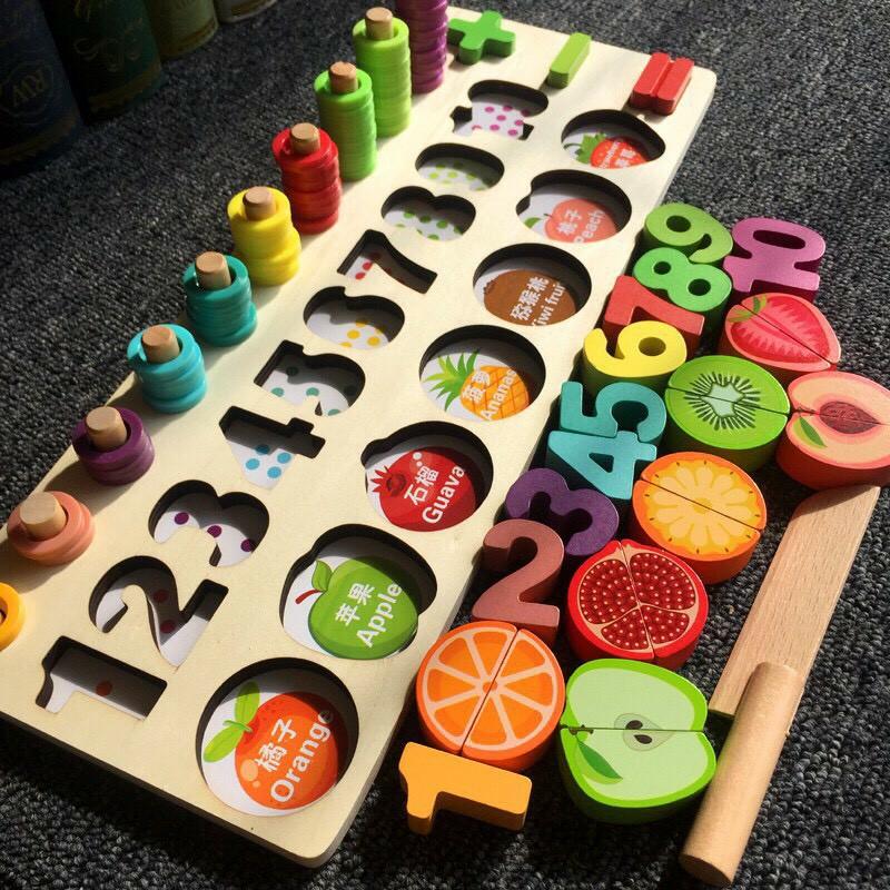Bảng gỗ cho bé, Bảng Đồ Chơi Cắt trái cây (hoa quả) có nam châm - Ghép Số Học Đếm 3 trong 1 Cho Bé giúp phát triển trí tuệ BK135
