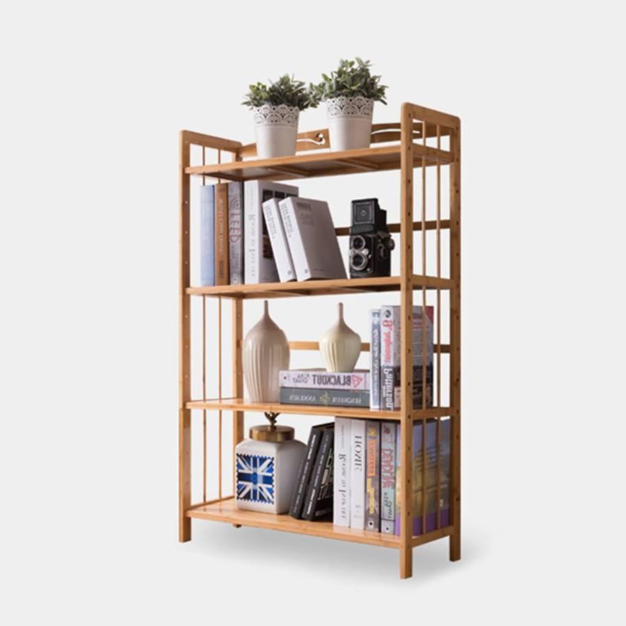 Giá sách gỗ tre 4 tầng, giá sách ( 50cm x 25cm x 125cm)