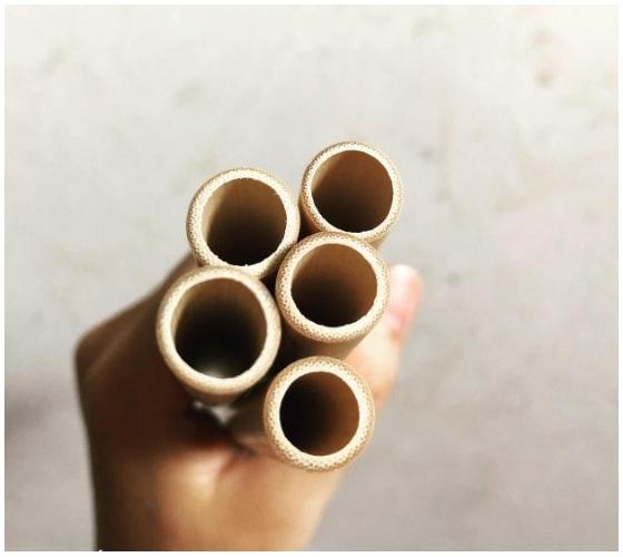 Ống hút tre zeno - Hộp 10 ống hút tre size 10-12mm + Tặng 01 cọ xơ dừa