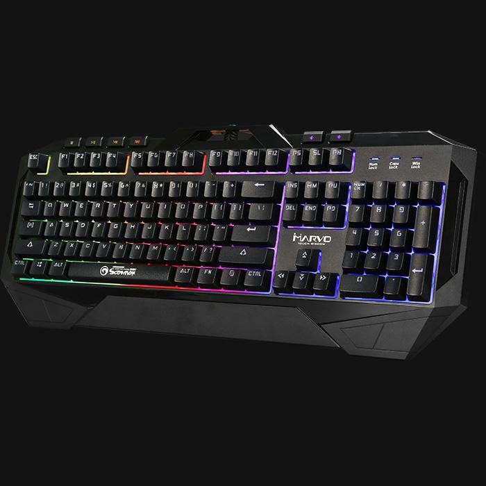 Bàn phím chuyên game cao cấp Marvo KG860 Thiết kế chống thấm nước để nhanh chóng thoát các chất lỏng trong trường hợp lỡ tay - Hàng Nhập Khẩu