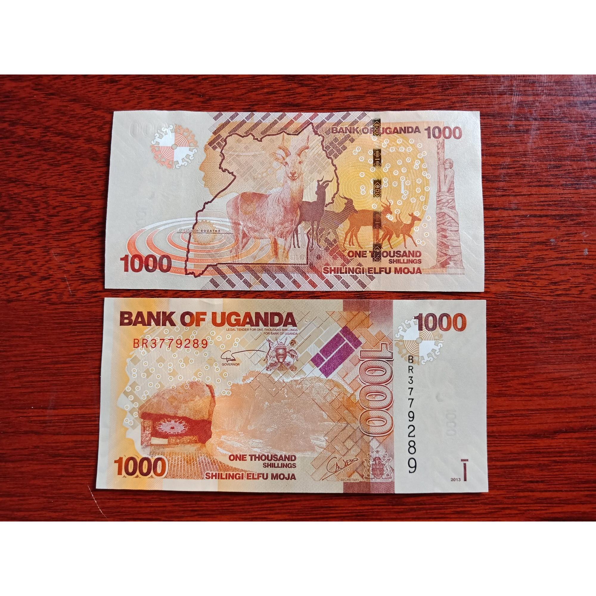 Tờ tiền hình con dê Uganda 1000 Shilling, lì xì người tuổi Mùi, tiền mới 100%