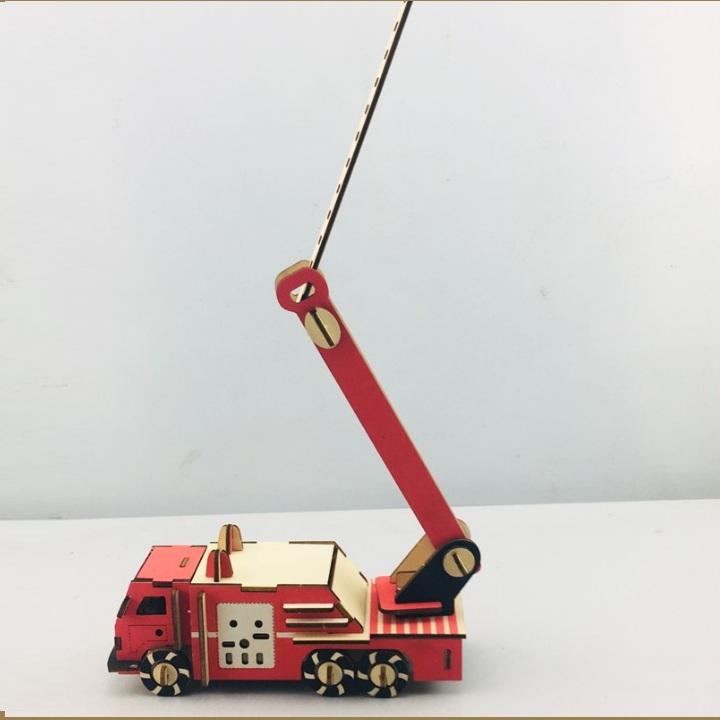 Đồ chơi lắp ráp gỗ 3D Mô hình Xe Cứu Hỏa Fire Truck Laser