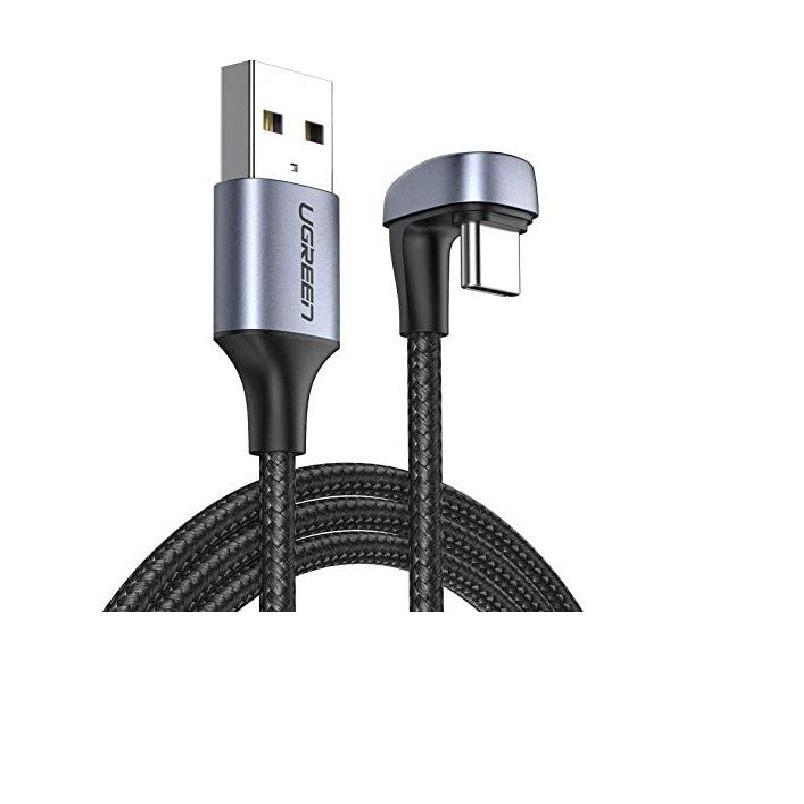 Cáp USB type C sạc nhanh đầu bọc nhôm chống nhiễu 2M bẻ chữ U màu đen  Ugreen 70315 US311 Hàng Chính Hãng