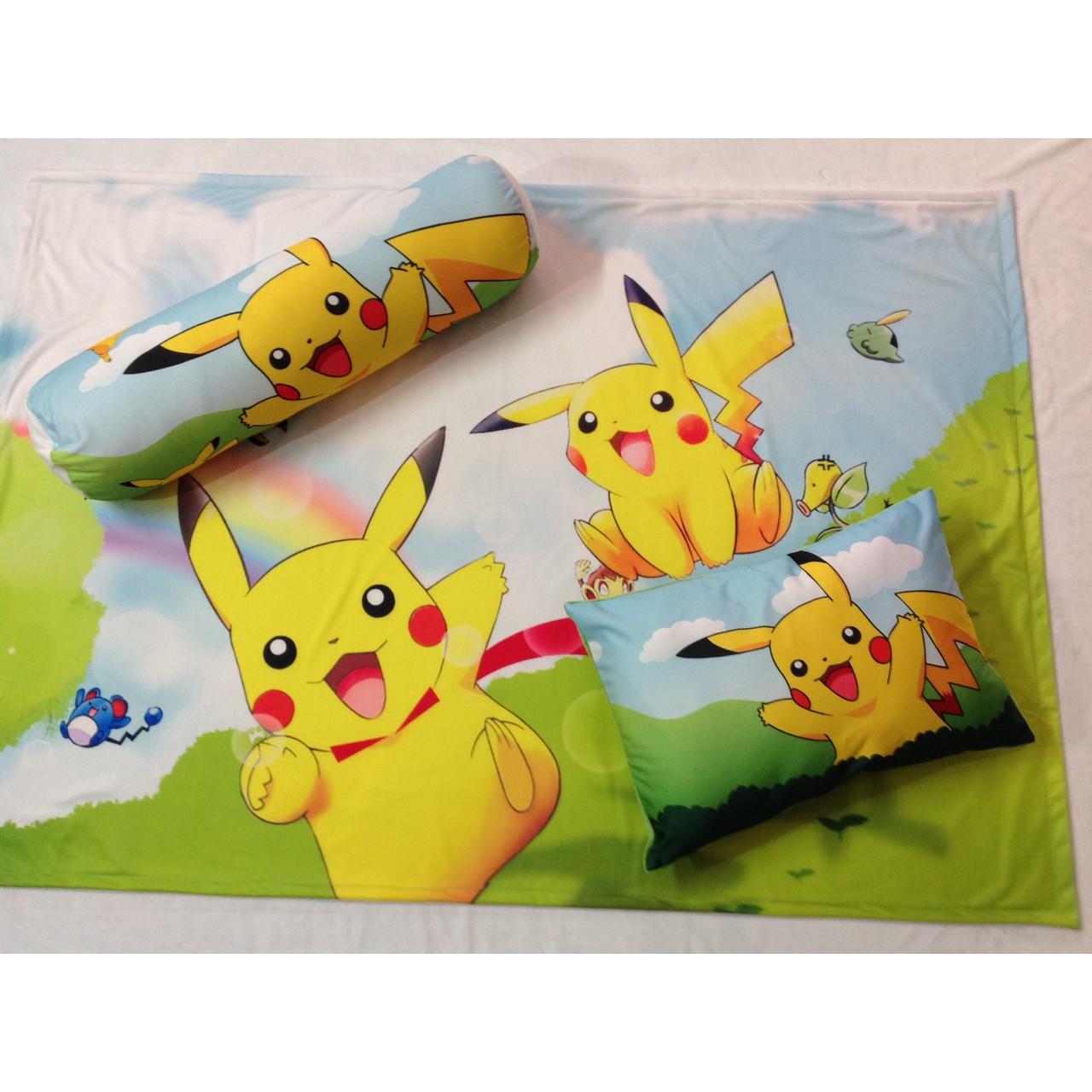Bộ chăn gối hình Pikachu cho bé 3-5 tuổi