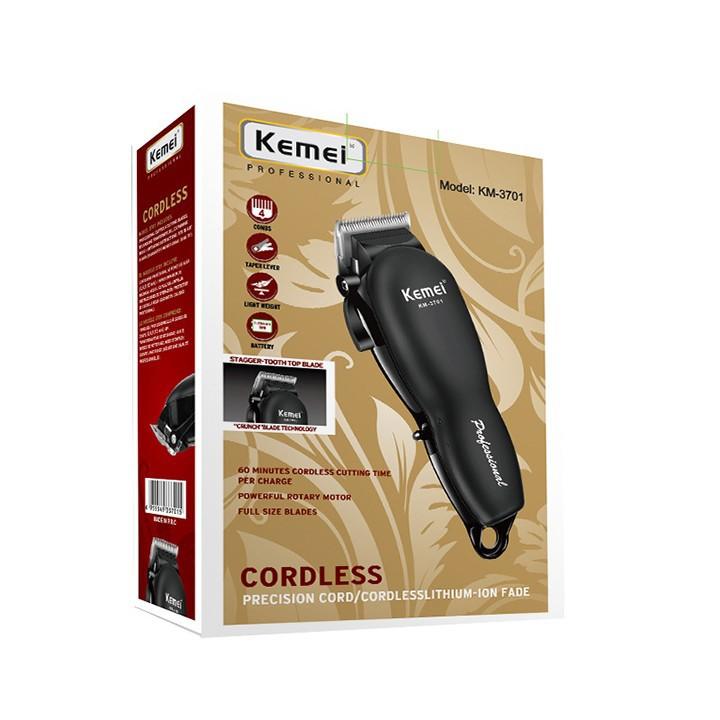Tông đơ cắt tóc chuyên nghiệp KM3701 màu sắc đen