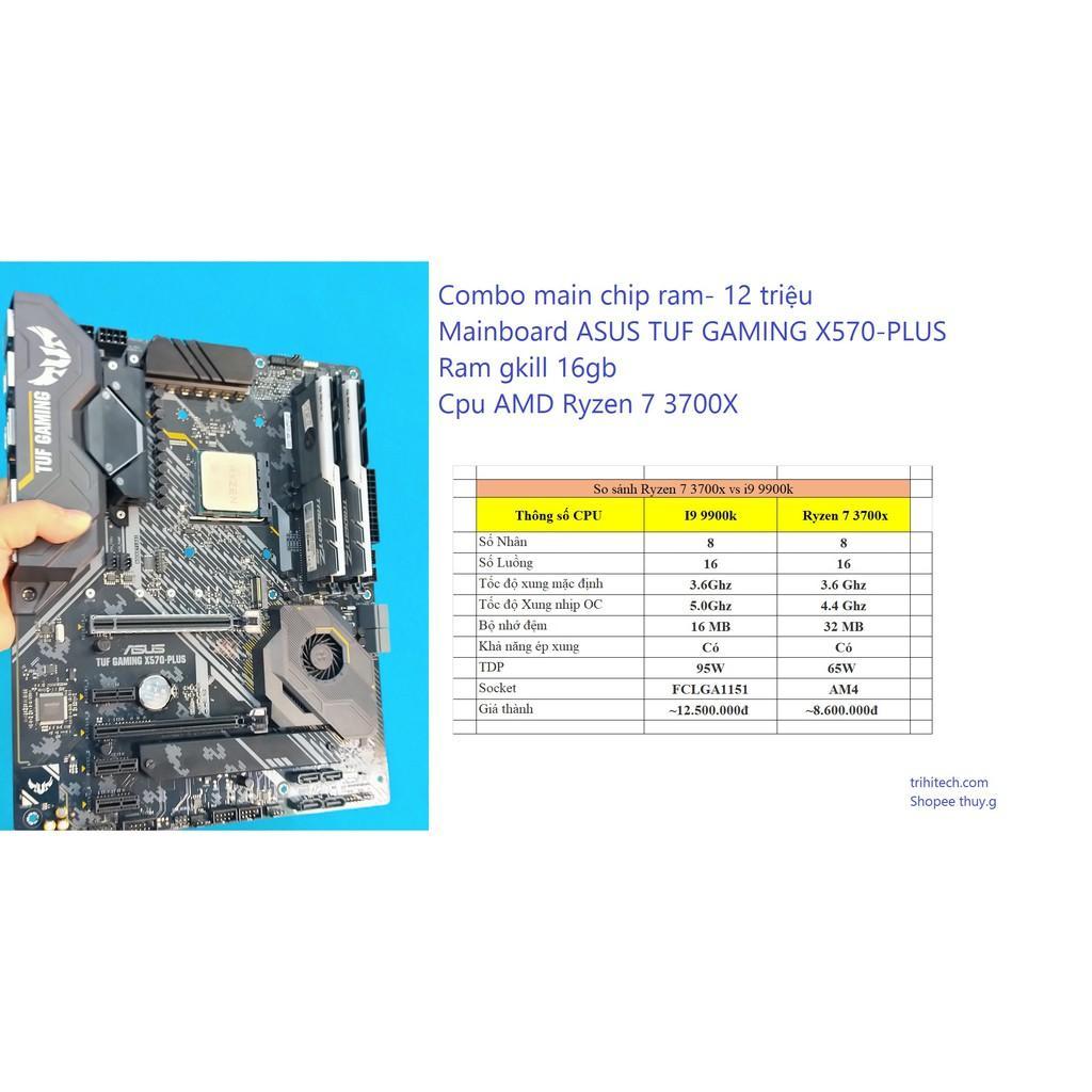 Bo mạch chủ X570-PLUS Cpu ryzen 7 3700x Ram 16gb tản led buss 3000
