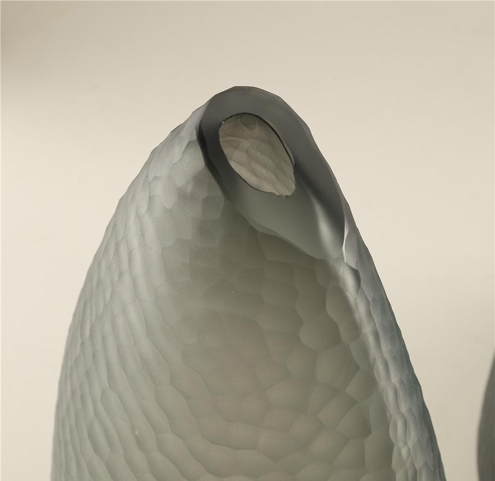 Bình Hoa Thủy Tinh Màu Xám -  Phong Cách Châu Ấu - Chạm Khắc Thủ Công 11F077-9118390