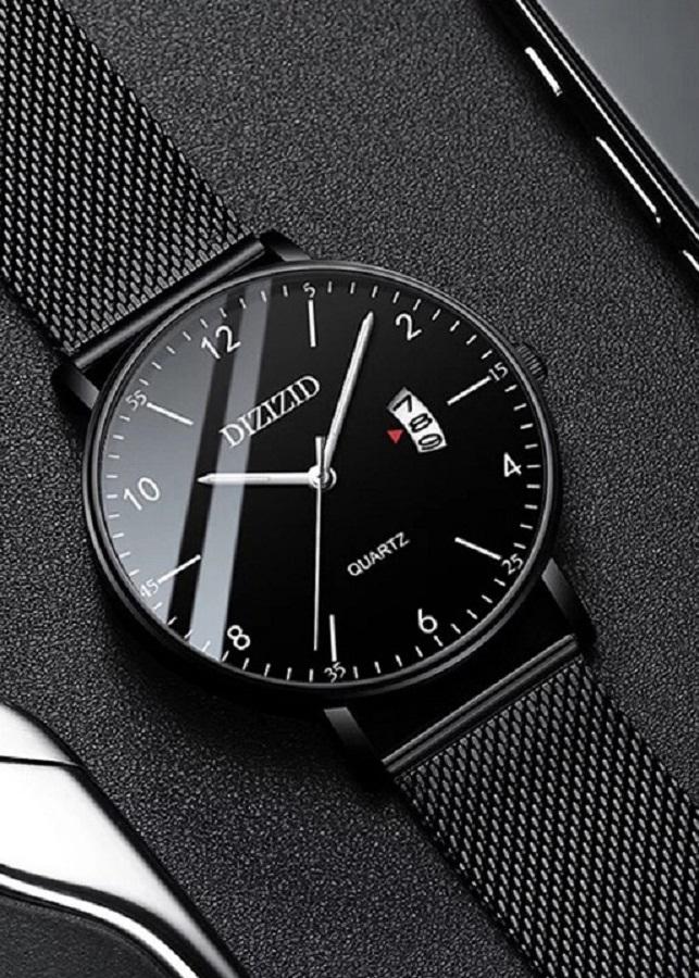 Đồng hồ nam DIZIZID mẫu HOT dây Titanium mặt siêu mỏng có lịch ngày cao cấp DZ3N