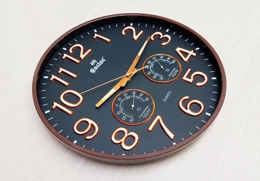 Đồng hồ Eastar Tròn, Màu Đen có Dạ quang và Nhiệt Ẩm Kế Tự Động