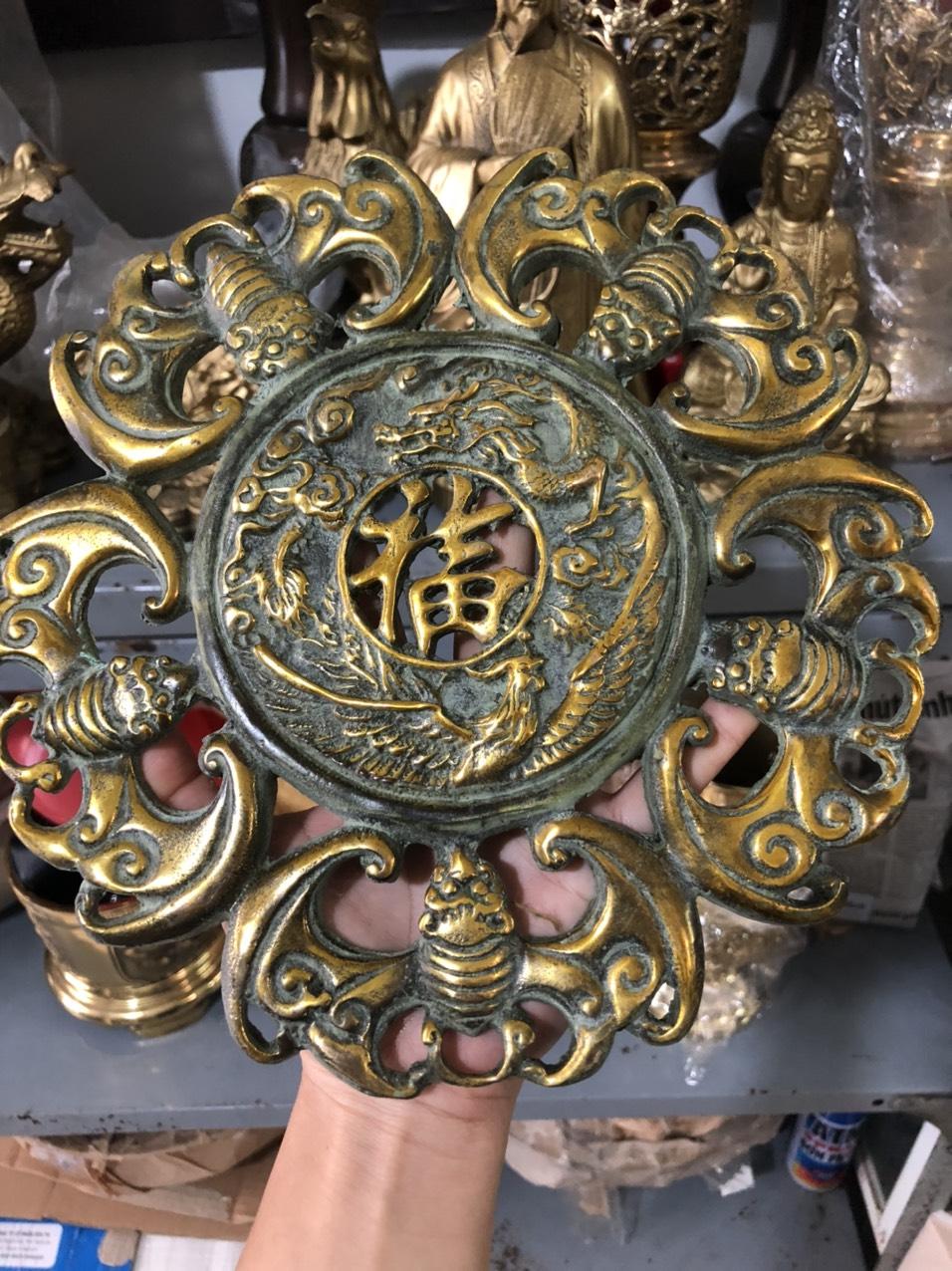 Võng ngũ phúc lâm môn bằng đồng giả cổ dk 22cm