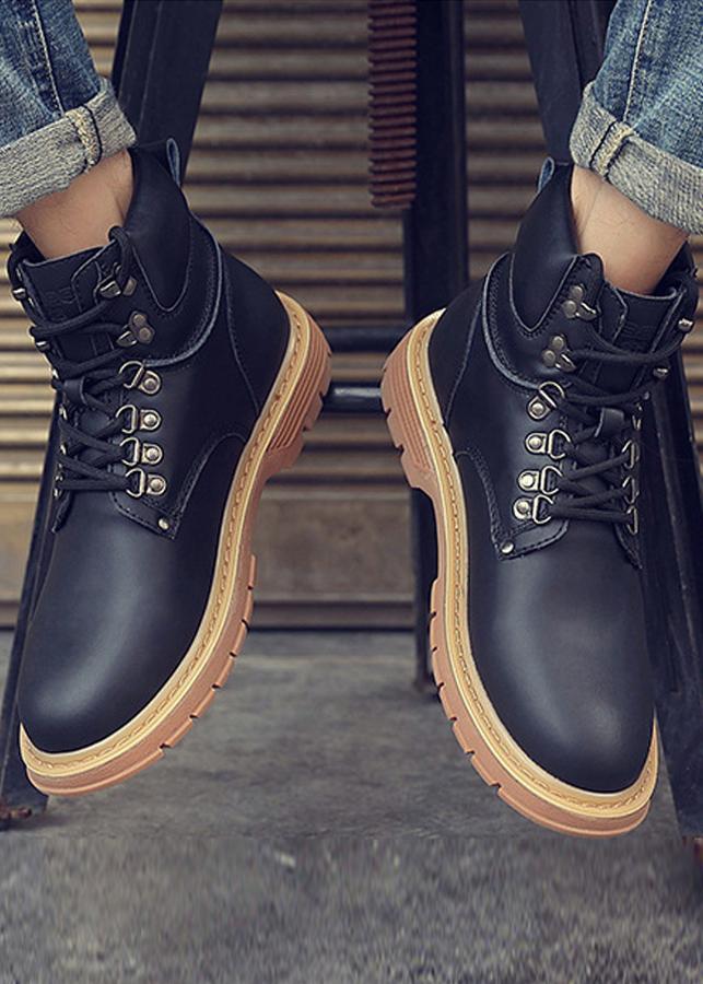 Giày boot nam cổ cao,phong cách Hàn Quốc,phối cùng khoá cài dây giầy cực ngầu-801