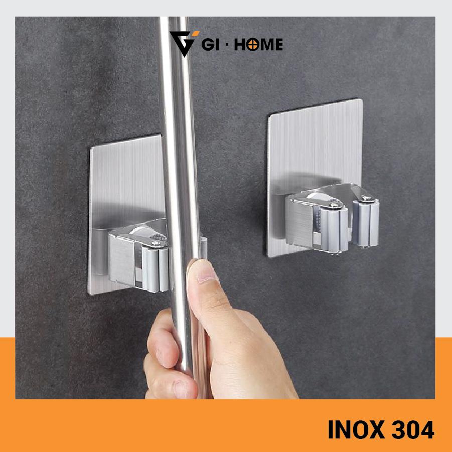 Móc treo chổi inox 304 cao cấp Gi-Home KTC01 -  Kệ treo chổi inox 304 dán tường