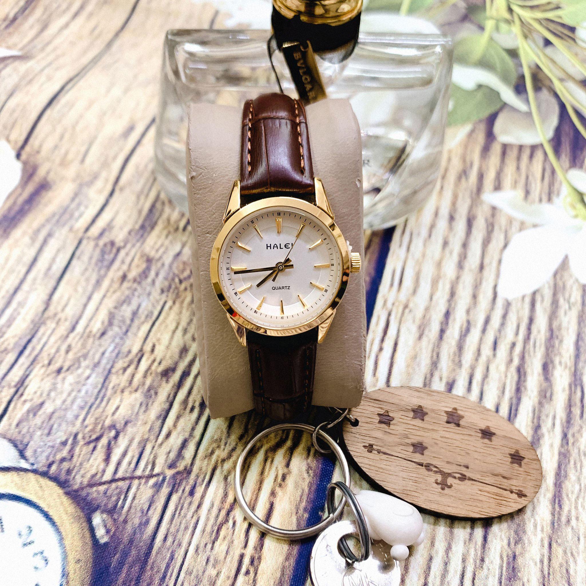 Đồng hồ Nữ Halei HL574 dây da cao cấp + Tặng Combo TẨY DA CHẾT APPLE WHITE PELLING GEL BEAUSKIN chính hãng