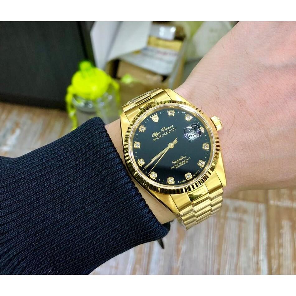 Đồng hồ nam dây kim loại Olym Pianus OP89322 OP89322AGK đen