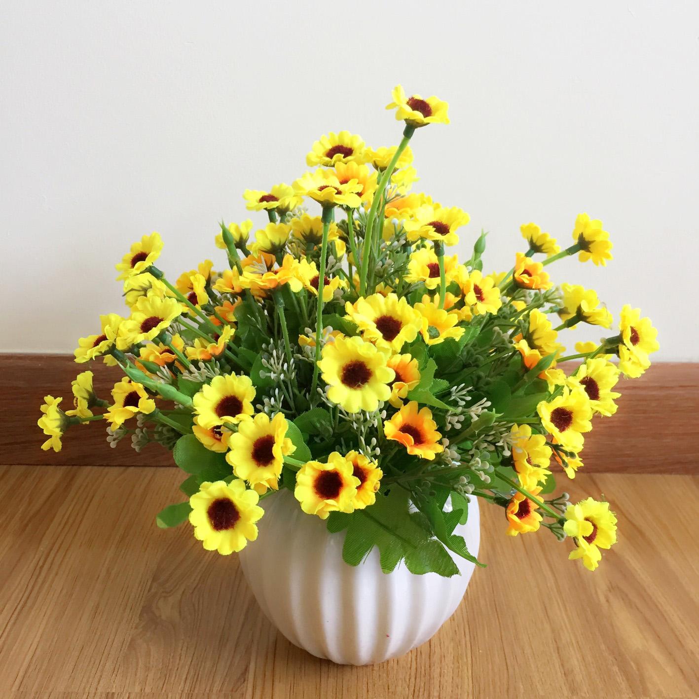 Bình hoa giả hoa cúc vàng ZVGHCV00012