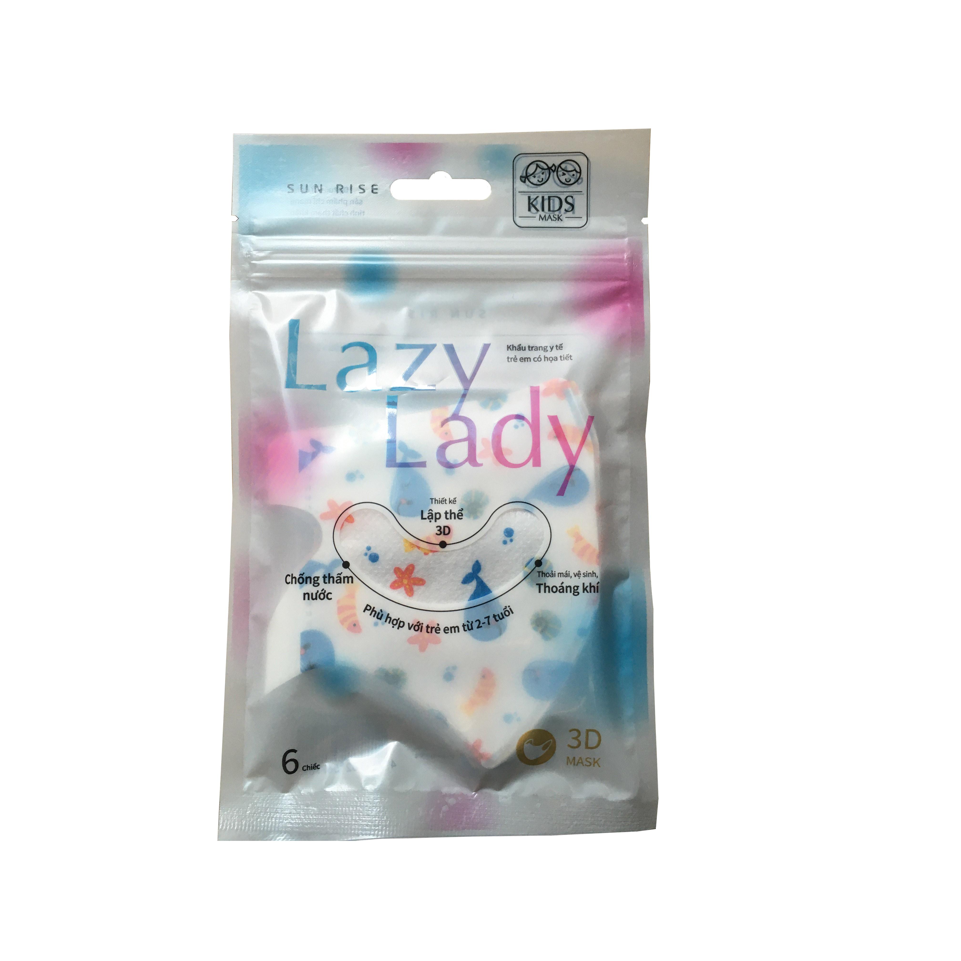 Khẩu trang y tế trẻ em Lazy Lady 3DChống bụi, chống vi khuẩn đạt tiêu chuẩn y tế Âu Mỹ, Nhập khẩu Đài Loan   6 cái túi