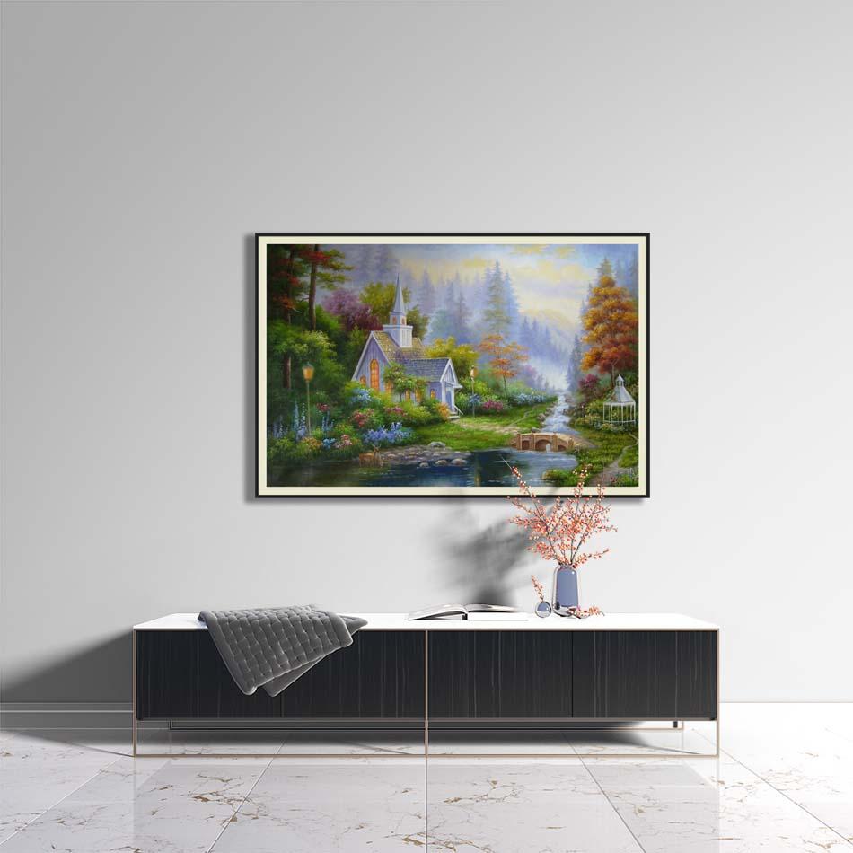 Tranh canvas phong cách sơn dầu - Phong cảnh Làng quê châu Âu - PC042
