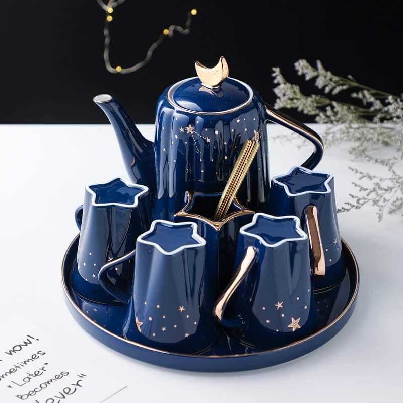 Bộ ấm trà 4 cốc kèm khay họa tiết sao xanh sang trọng