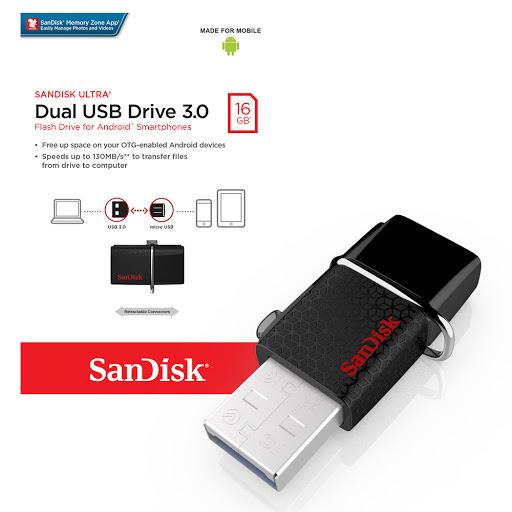USB OTG Sandisk 3.0 Ultra Dual 16GB 130MB/s (Đen) Hàng Chính Hãng