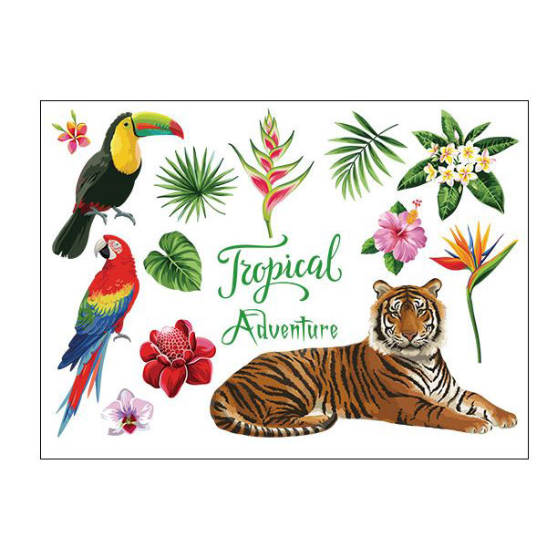 Decal dán tường Tropical Adventure Hổ SK7172