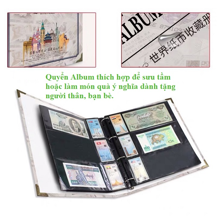 Bìa Album in các hình quốc tế, giao màu ngẫu nhiên, dùng để bảo quản các loại tem, tiền giấy sưu tầm.