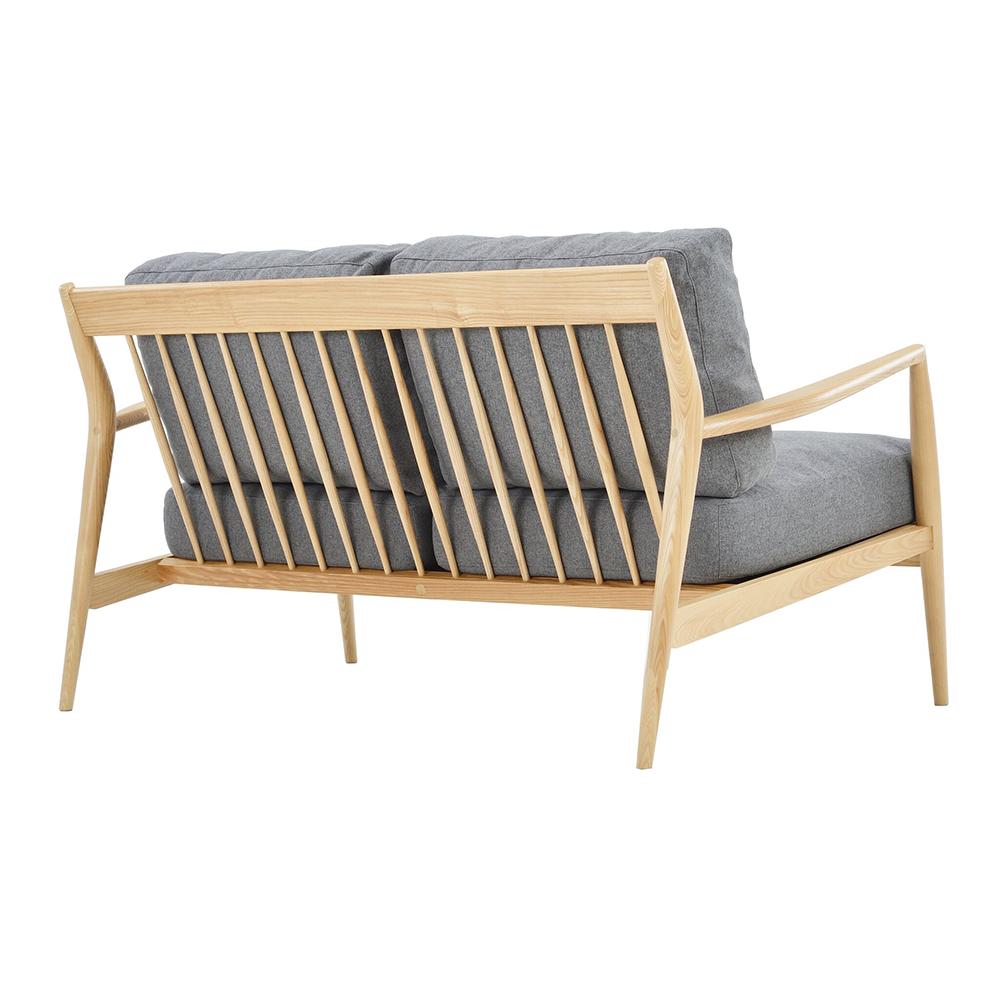 Sofa 2S Nofu806 gỗ tần bì bọc vải polyester ghi đậm R152xS88xC75cm