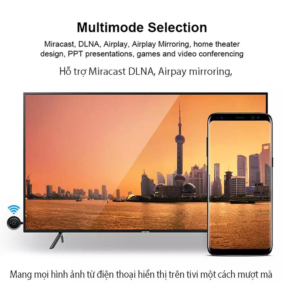 Thiết bị thu phát không dây HDMI Chromecast và streaming  2.4GHz DG17 ( đi kèm pin sạc USB )