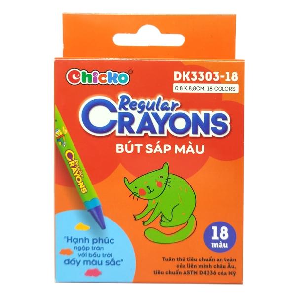 Bút Sáp Màu Chicko Regular Crayons - 18 Màu - DK3303-18