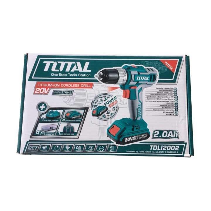 Máy Khoan Vặn Vít Dùng Pin 47 Chi Tiết Total TDLI2002