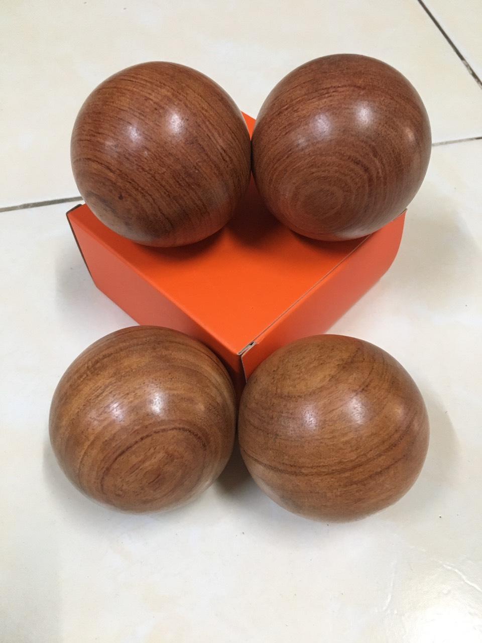 2 Cặp bi xoay tay gỗ Hương - Massage tay loại 5cm ( hình thật )