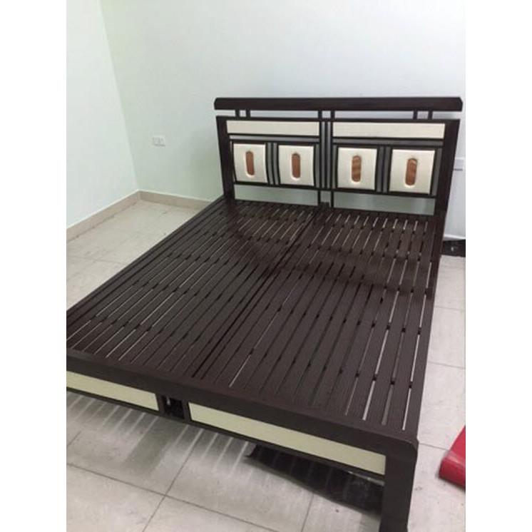 Giường sắt kiểu gỗ cao cấp cách điệu đầu giường