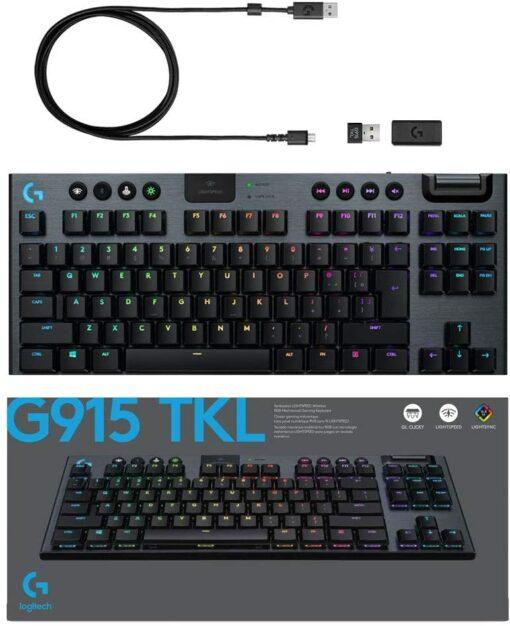 Bàn phím cơ không dây Logitech G913 TKL GL Clicky Key Switch Lightspeed Wireless - Hàng Chính Hãng