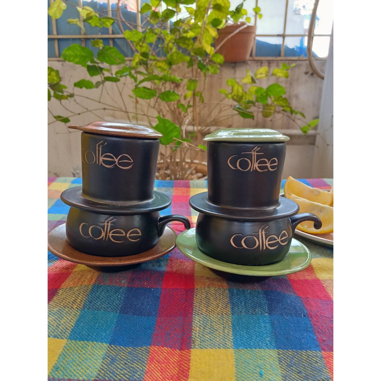 02 bộ phin pha cà phê gốm sứ Bát Tràng