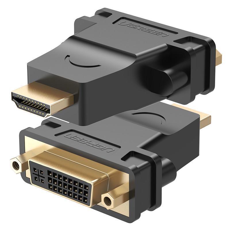 Đầu chuyển đổi HDMI đực sang DVI-I (24+5) cái mạ vàng cao cấp UGREEN 20123 (đen) - Hàng chính hãng