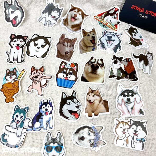 Bộ 50 Sticker (nhãn dán) CHÓ HUSKY NGÁO NGƠ - trang trí nón bảo hiểm, ghi-ta, tủ lạnh, máy tính