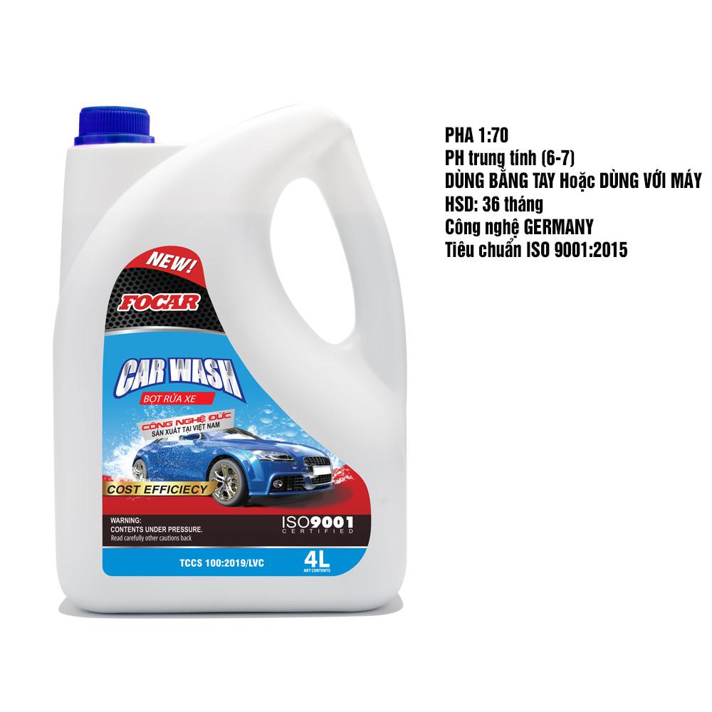 Nước rửa xe bọt tuyết  đậm đặc Car Wash Foam FOCAR 4L - dưỡng bóng bảo vệ màu sơn, tỷ lệ pha 1:70 siêu tiết kiệm, hệ chất dưỡng bóng vỏ sơn  Polymer  kép, PH trung tính