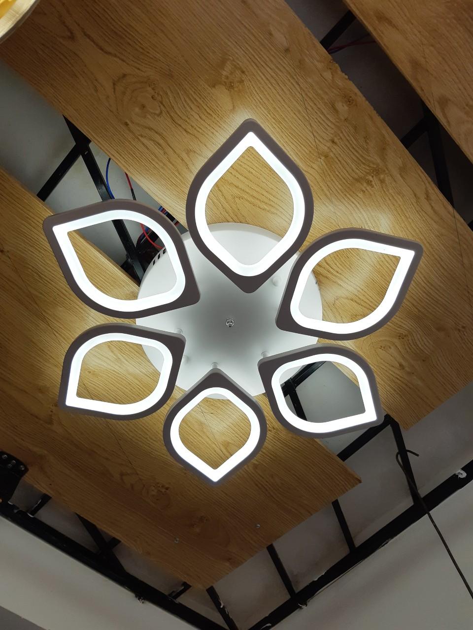 Đèn led mâm sát trần 6 lá sen, 3 màu điều khiển từ xa