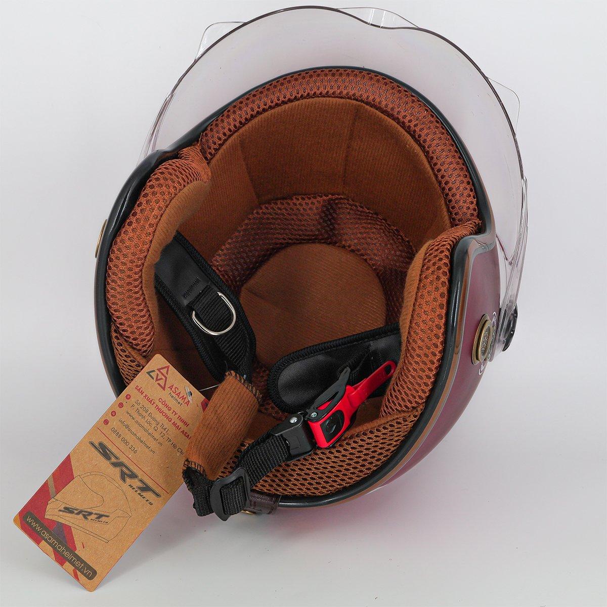 Mũ bảo hiểm 3/4 SRT 368K viền đồng lót nâu cao cấp có thông gió - kính càng - Đỏ đô - dành cho người đi phượt