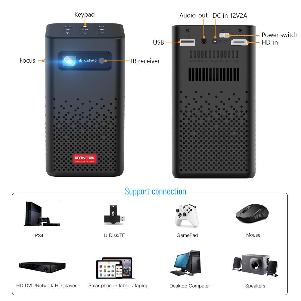 Máy chiếu mini Byintek P20, New 2021, Android 9.0 OS, LED, 4800 lumens, tích hợp pin - Hàng chính hãng