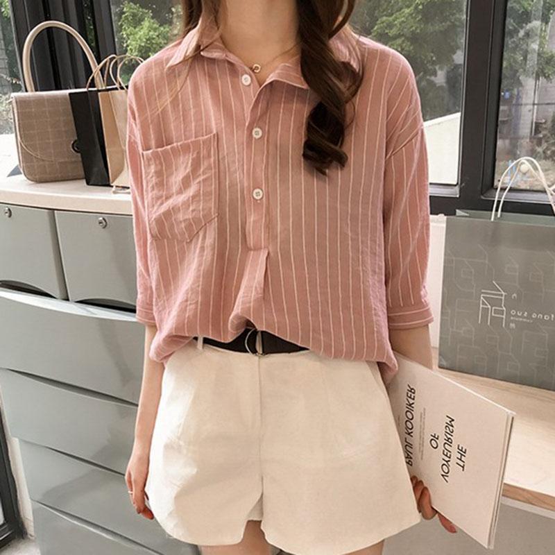 Women Casual Stripe Pattern Shirt Fashion 3 Quarter Sleeve Tops - Pink Size L - 23632700 , 5106824697909 , 62_20710410 , 334400 , Women-Casual-Stripe-Pattern-Shirt-Fashion-3-Quarter-Sleeve-Tops-Pink-Size-L-62_20710410 , tiki.vn , Women Casual Stripe Pattern Shirt Fashion 3 Quarter Sleeve Tops - Pink Size L