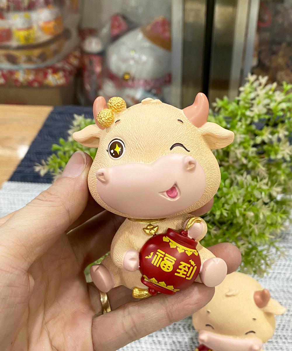 Bộ 02 tượng Trâu vàng kèm chậu vàng Chiêu Tài Tấn Lộc