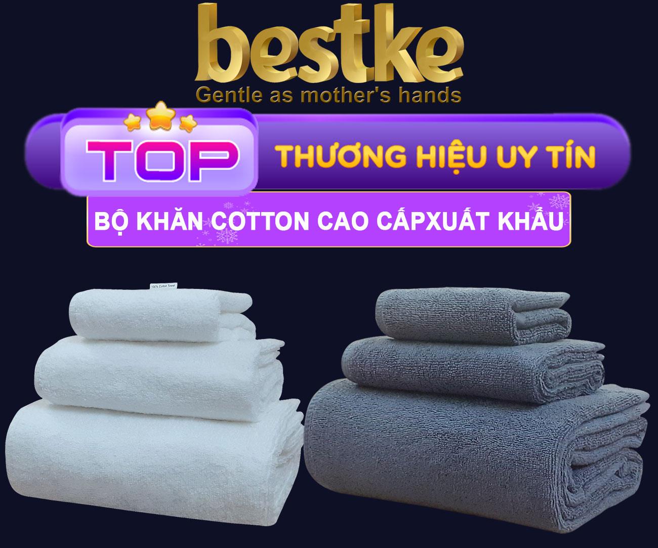 Bestke Khăn Mặt 100% Cotton, Mềm Mại và Siêu Thấm Hút Nước , Set 5 cái KT 28cm*48cm/cái, Màu cafe sữa, towel factory