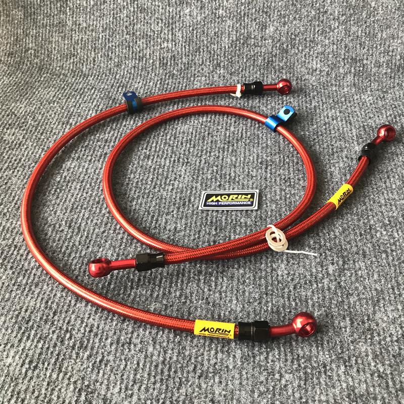 Combo dây dầu trước, sau thắng đĩa kiểu dáng thể thao cho nhiều dòng xe ( màu đỏ)