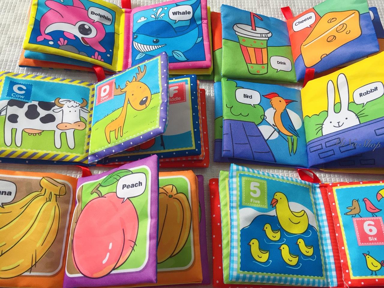 Sách vải - Sách vải set 6 quyển cho các bé sơ sinh từ 0m+ - Loại mới