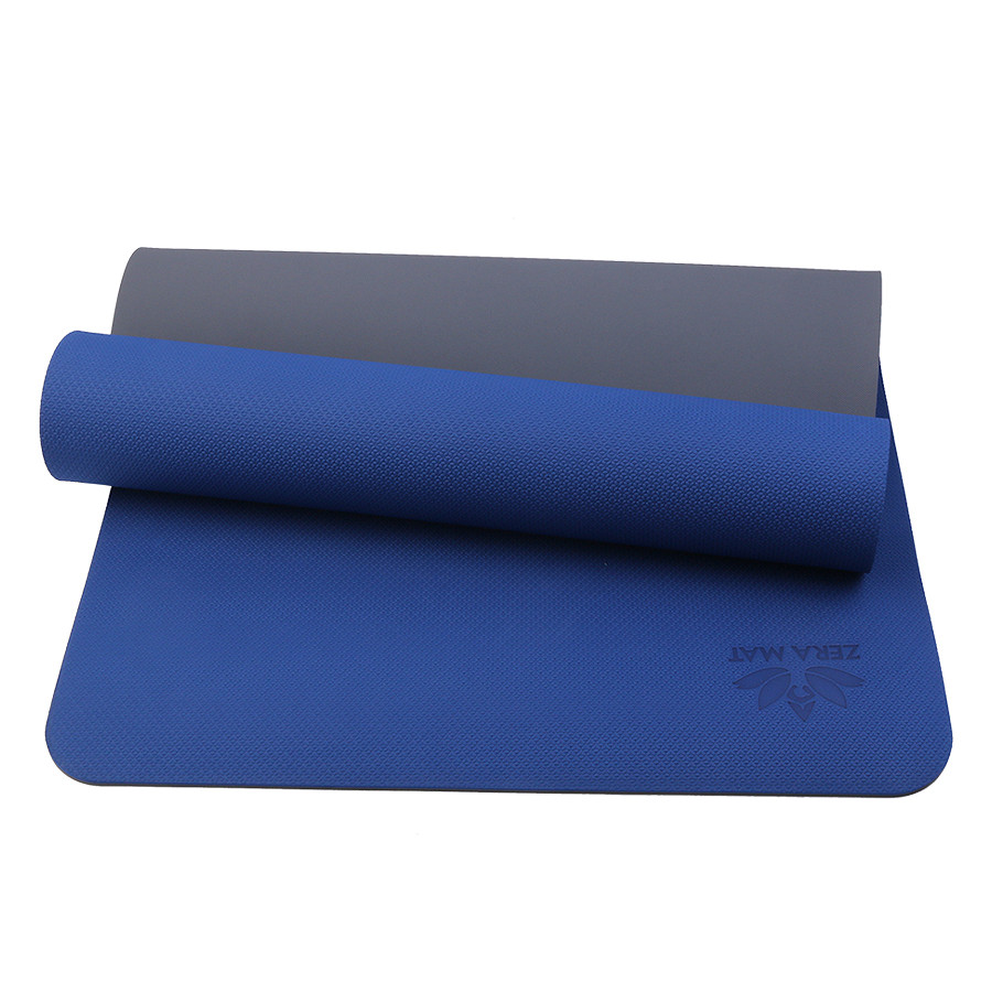Thảm tập yoga Fitness Zera TPE 2 lớp 8mm - Xanh coban