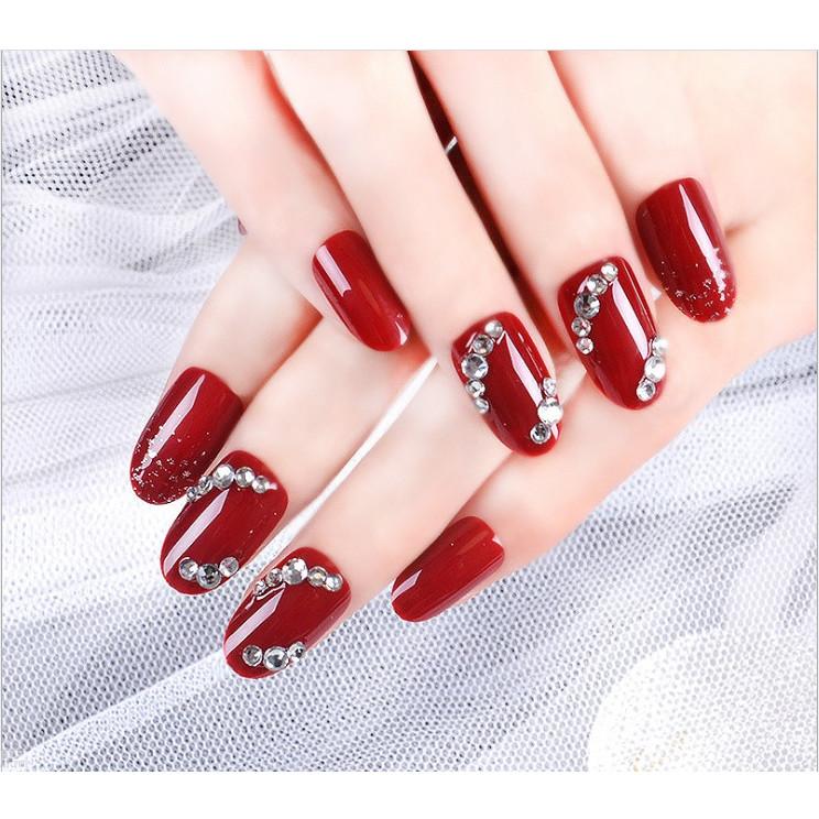 Móng tay giả nail thời trang đính đá - Bộ 12 móng
