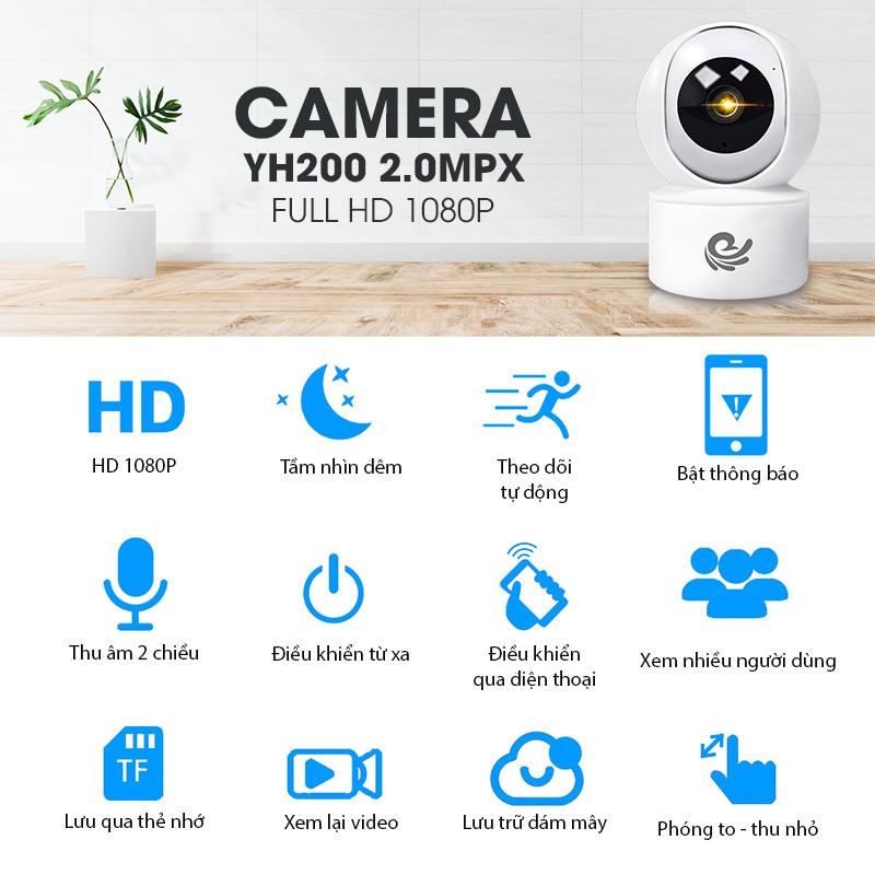 Camera Ip Giám Sát An Ninh Trong Nhà CC2020, 2.0Mpx 1920x1080P FULL HD, Xoay Theo Chuyển Động, Hú Báo Động, Dùng Cho Điện Thoại, Máy Tính, Smart TV - Chính Hãng