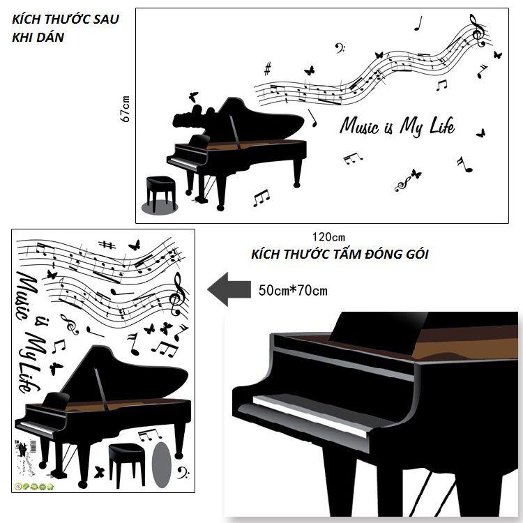 Decal dán tường Âm nhạc Piano và Guitar AmyShop - 2 bộ