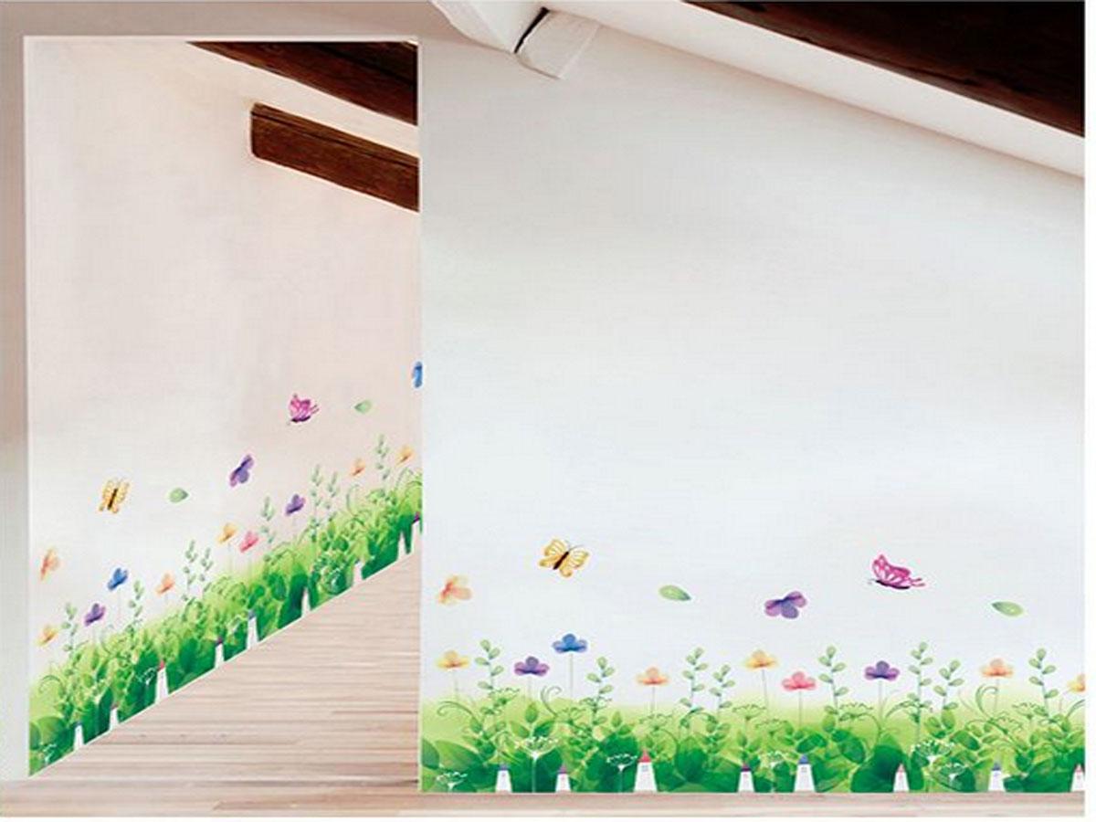 Decal dán tường chân rào pha lê xanh xl7183