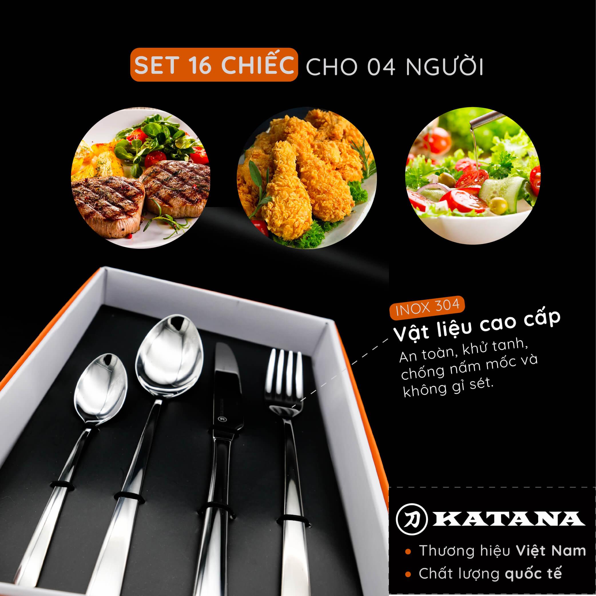 Set 16 chiếc thìa dĩa cao cấp thương hiệu KATANA - KATA400